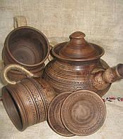 Глиняний заварник з чашечками 1,5л