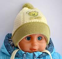 Детская шапка Мишка, весна, двойная