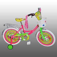 "Велосипед детский мульт 12"" P1251F-W Бабочка, белые колеса,бел педали,корзина,кисточки на руле"