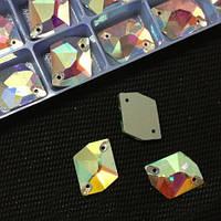 Стразы пришивные Космик (ломанный ромб) 13*17 мм Crystal AB, стекло