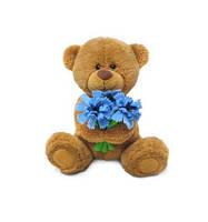Детская мягкая игрушка Медвежонок Сэмми с васильками Lava муз., 18 см
