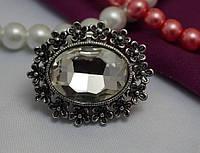 Большой перстень белый кристалл модный аксессуар