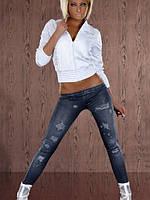 Леггинсы синего цвета с джинсовым принтом