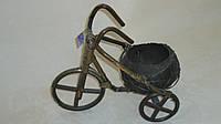 Кашпо велосипед из кокоса темный