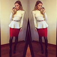Платье с баской белый верх красная юбка