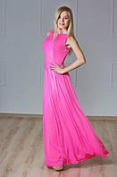 Платье в пол с гипюром розовое, фото 1