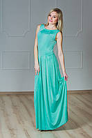 Платье в пол с гипюром мята, фото 1