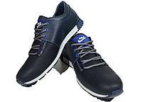 Кроссовки синие натуральная кожа на шнуровке (Н28)