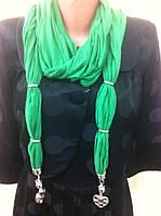 Зелёный шарф бижутерия