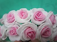 Розочка латексная бело-розовая, букетик из 11 цветков, диаметр розы 20-25 мм