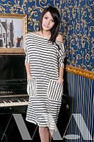 Свободное платье туника в полоску спадающее на одно плечо в полоску 2052