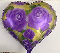 Шар фольгированый в форме сердца  с розами , 45 см.