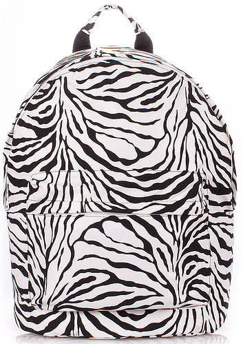Стильный женский рюкзак с принтом зебра Poolparty backpack-pu-zebra