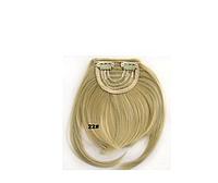 Аккуратная прямая накладная челка из искусственных волос, на двух заколках клипсах, термостойкая, цвет - №22