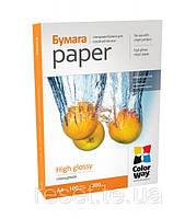 Фотобумага ColorWay глянцевая 200г/м, A4 PG200-100
