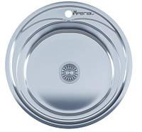 Мойка для кухни врезная круг 490 х 165/180 IMPERIAL 0,8 глянцевая