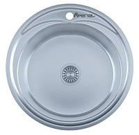 Мойка для кухни врезная круг  490 х 165/180 IMPERIAL 0,8 декор