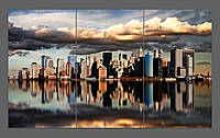 Модульная картина на стекле город Нью-Йорк ( Marcel Schauer ) 120*70 см