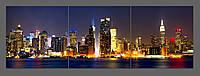 Картина на стекле из 3-ех частей Ночной Нью-Йорк 150*50 см