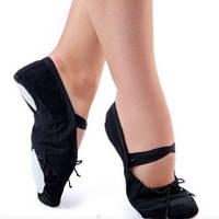 Балетки Dance&Sport для танцев тканевые c кожаным носом