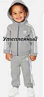 Утепленный спортивный костюм Adidas, серый