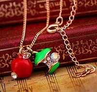 Хит продаж! Супер! Модное ожерелье Яблочко, цвет кулонов - зеленый, красный, цвет металла - золото