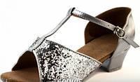 Бальные серебряные туфли для девочек