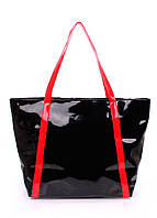 Лаковая сумка с краными ручками POOLPARTY