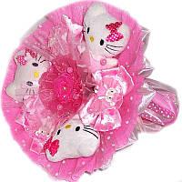 Букет из мягких игрушек Котики 3 в розовом с заколками