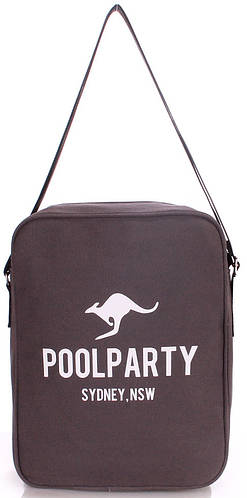 Сумка мужская молодежная на плечо POOLPARTY SARARI CROSSBODY BAG  pool-18-grey серая