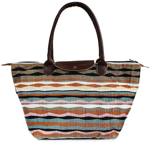 Пляжная женская вельветовая сумка с клапаном POOLPARTY pool80-velvet-brown коричневая
