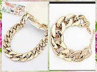 Набор бижутерии: колье + браслет, толстая цепочка, цвет - золото
