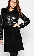 Модное пальто с мехом. Черное пальто женское 2015
