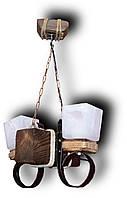 Люстра из  дерева с элементами металла, стекла, ткани Е14 2*60