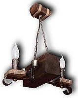 Люстра деревянная Колыба на 2 лампы