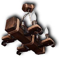 Люстра деревянная Колыба на 4 лампы-свечи