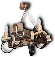 Люстра подвес из натурального дерева на 3 лампы, Код 7603 СВБ