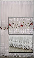 Тюль на окна белая с красными цветами и кружевом