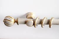 Карниз деревянный Колина белый-золото гладкий 28мм/300см