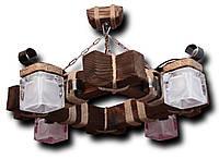 Люстра подвес из натурального дерева на 4 лампы. 7604 СКП