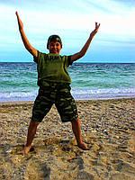 Шорты трикотажные детские для мальчиков камуфляж Зеленый от 4 до 12 лет