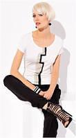 Блузка, кофточка женская, футболка белая, светлая с коротким рукавом Zaps 2015