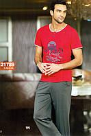 Мужская пижама, костюм для дома и отдыха футболка и брюки Sahinler 21789