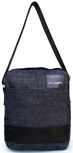 Джинсовая сумка мужская на плечо POOLPARTY pool94-black-blue-jeans синяя