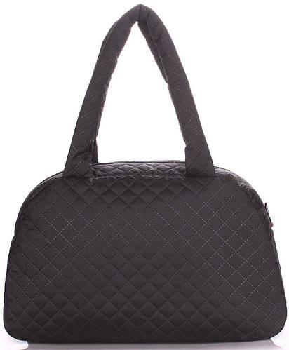Удобная женская стеганая сумка-саквояж POOLPARTY ns4-eco-black черная