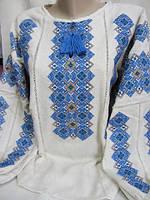 Купить блузу с голубой вышивкой Национальный колорит (домоткане волокно)