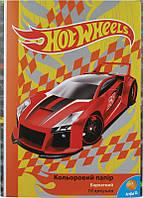 Цветная бумага (бархатная) А4 KITE 2015 Hot Wheels 251