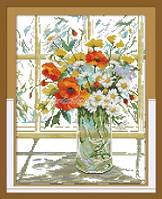 Букет цветов у окна Набор для вышивки крестом с печатью на ткани 14ст