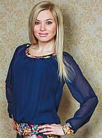 Шифоновая блузка темно-синяя, фото 1