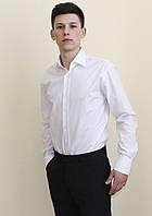 Белая приталенная рубашка 100% хлопок